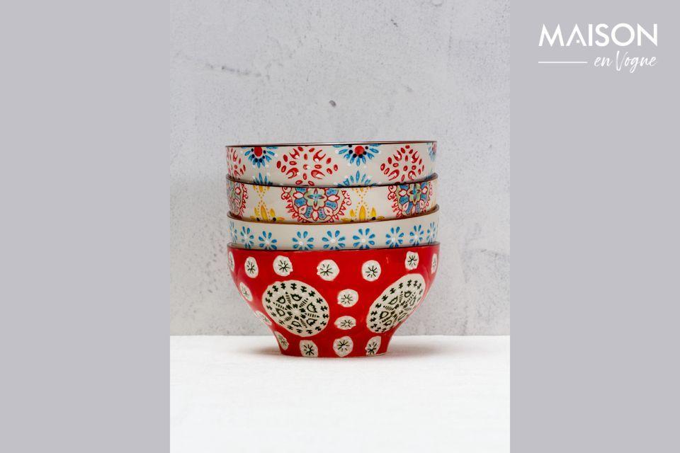 4 Bohemian ceramic bowls Chehoma