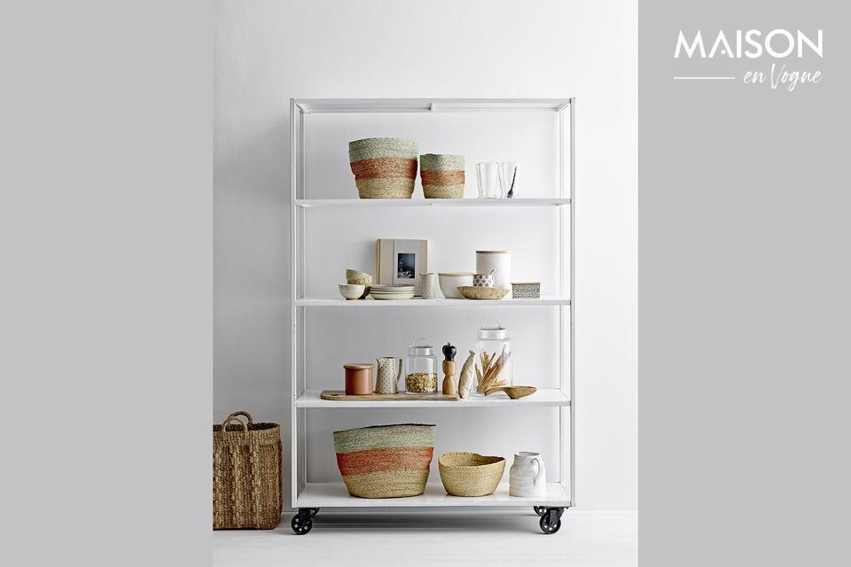 Decorative white stoneware jar