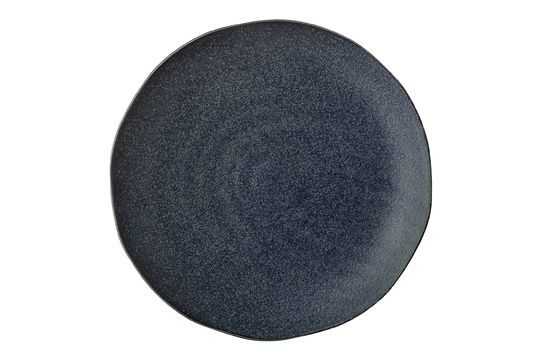 Aura plate in blue stoneware Clipped