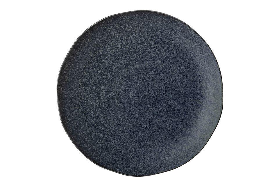 Aura plate in blue stoneware Bloomingville