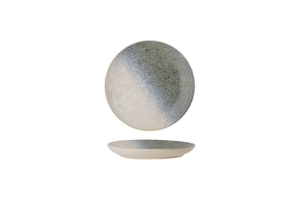 This stoneware plate will seduce you with its original and indefinable colour with iridescent
