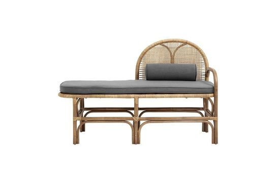 Bali rattan bench with grey cushions Clipped