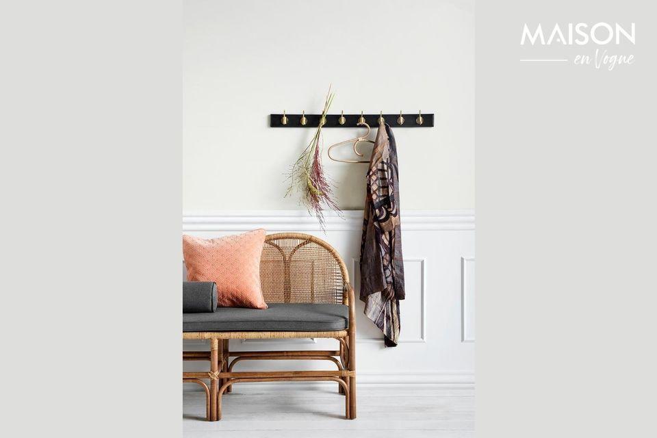 A rattan bench with an original shape