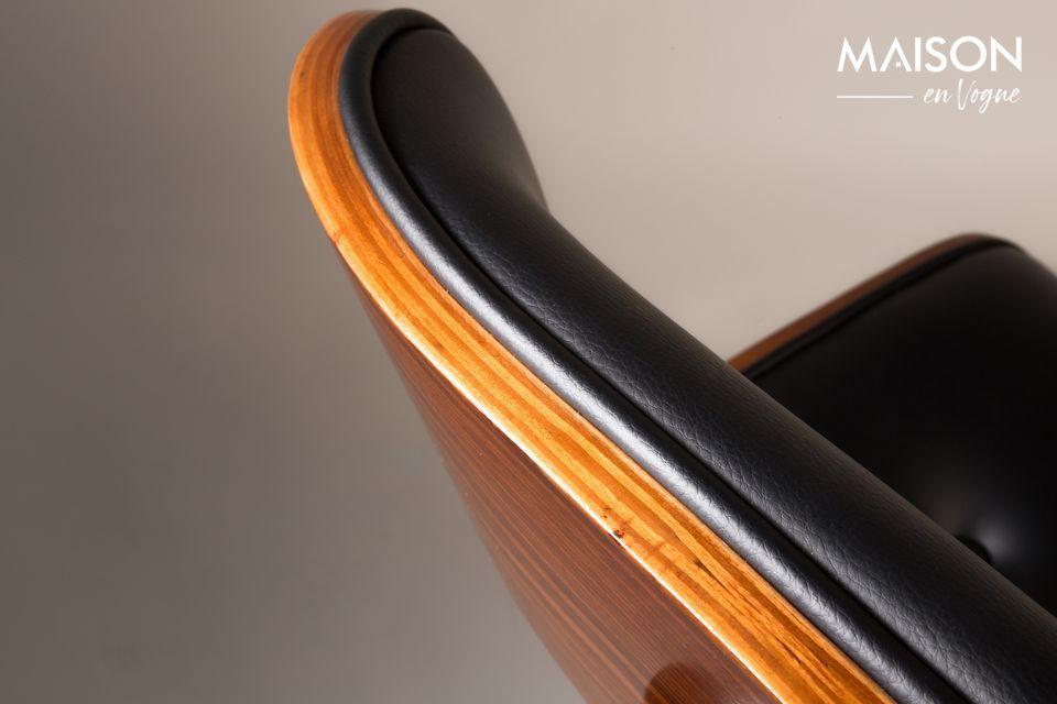 Black Wood brown and black chair - 7