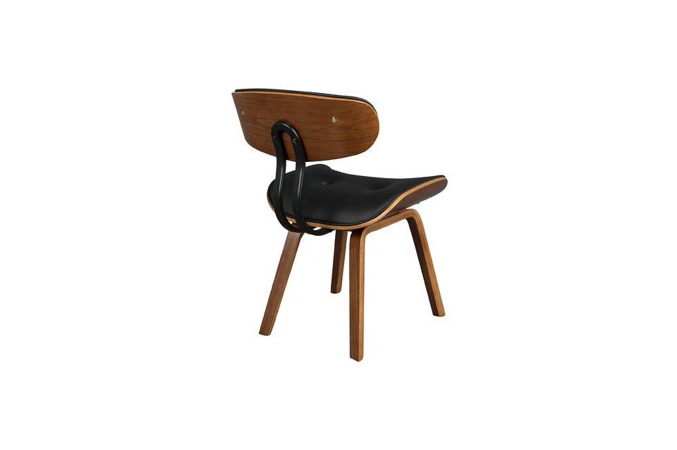 Black Wood brown and black chair - 10