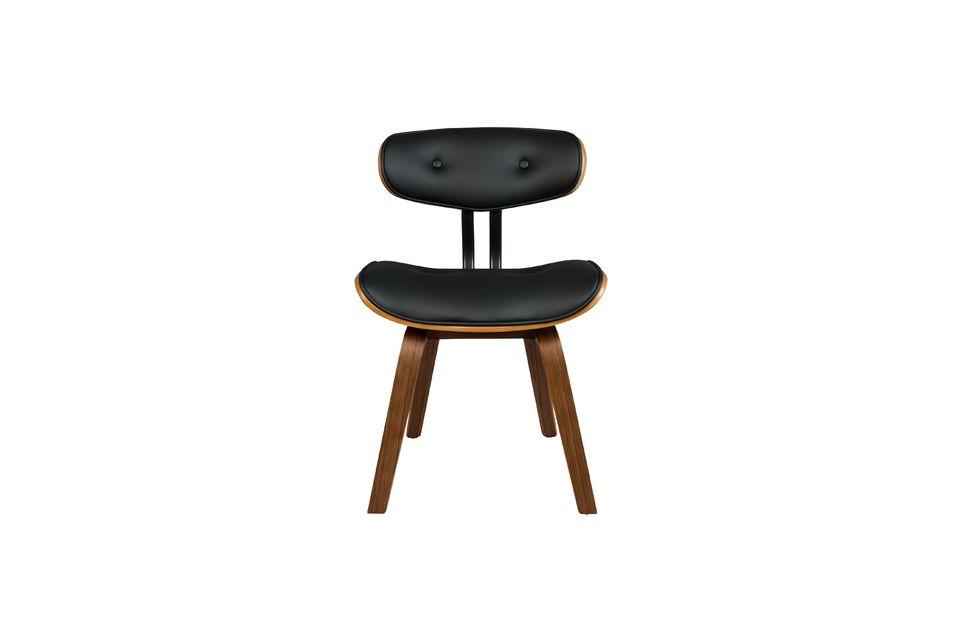 Black Wood brown and black chair - 12