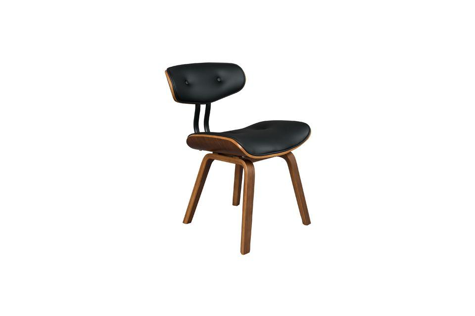 Black Wood brown and black chair - 8