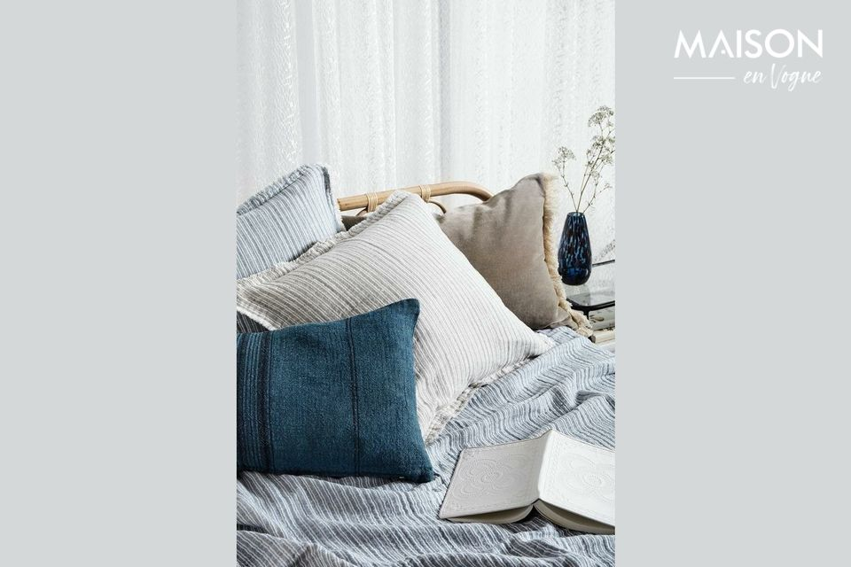 Blue linen and striped cushion covers