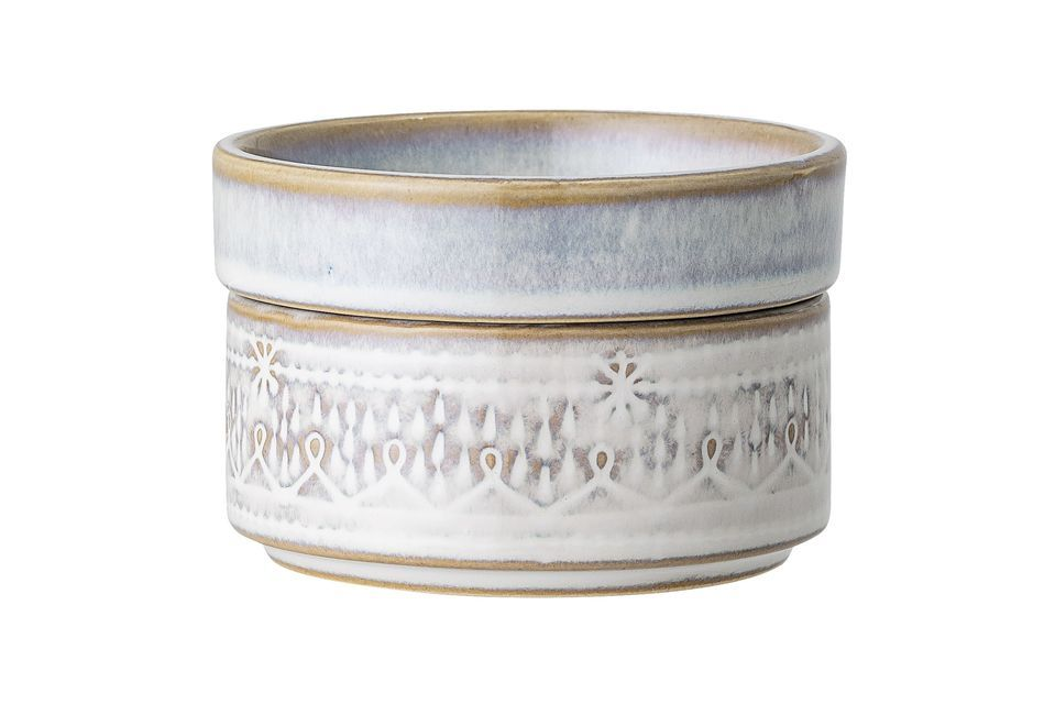 Camellia white stoneware pot with lid Bloomingville