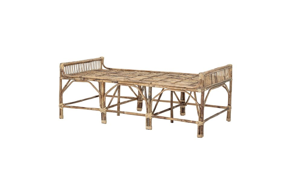 Complete the simple and universal aesthetic of this wooden bench by adding colourful cushions and