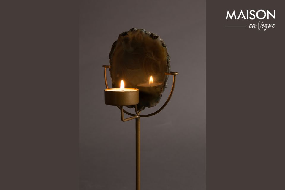This unique candleholder is made of genuine polished green agate stone