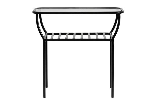 Chic black side table in iron and glass