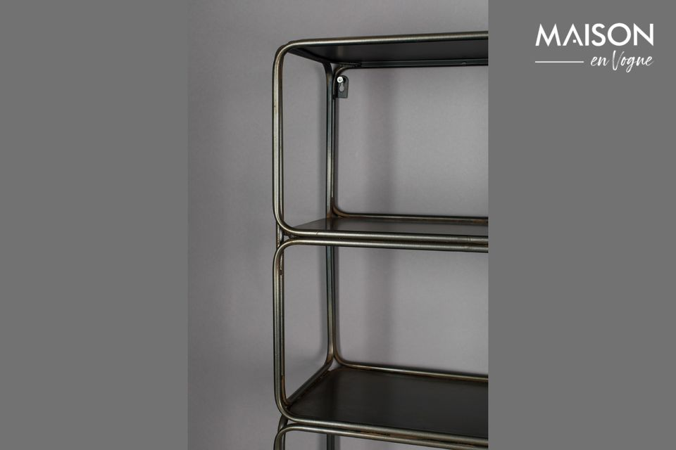 This light and sleek iron wall shelf will make your life easier by allowing you to easily store many