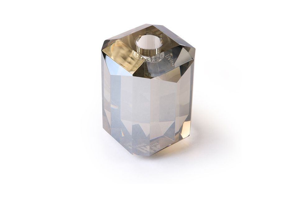 A candleholder with a glittering effect