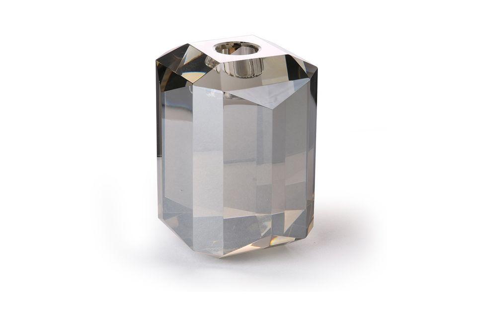 Cristal grey glass dimond candleholder HK Living