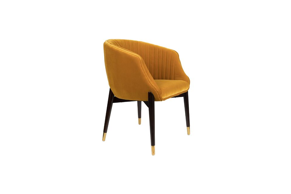 The detail of the golden brass end caps and the designer stitching on the backrest are eye-catching