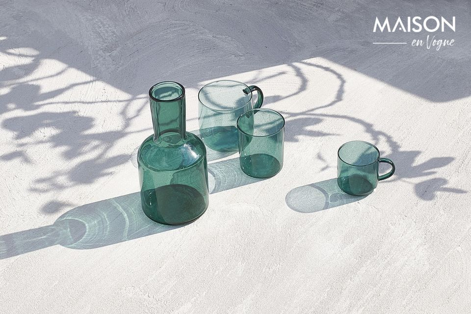 Blue borosilicate glass for this set.