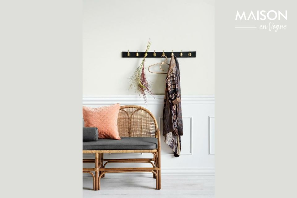 Edgy coat rack with 8 brass hooks Nordal