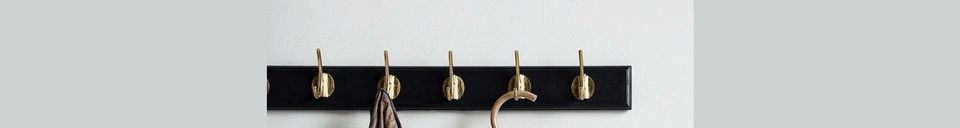 Material Details Edgy coat rack with 8 brass hooks