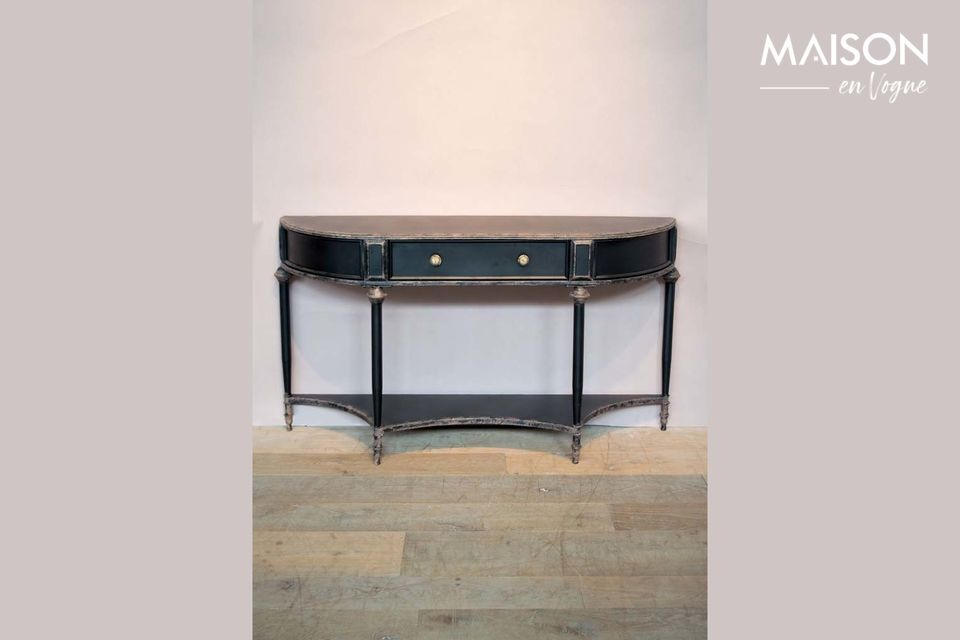 Edouard Black console 2 levels and drawer Chehoma
