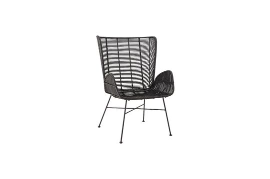 Erika black lounge armchair in rattan Clipped