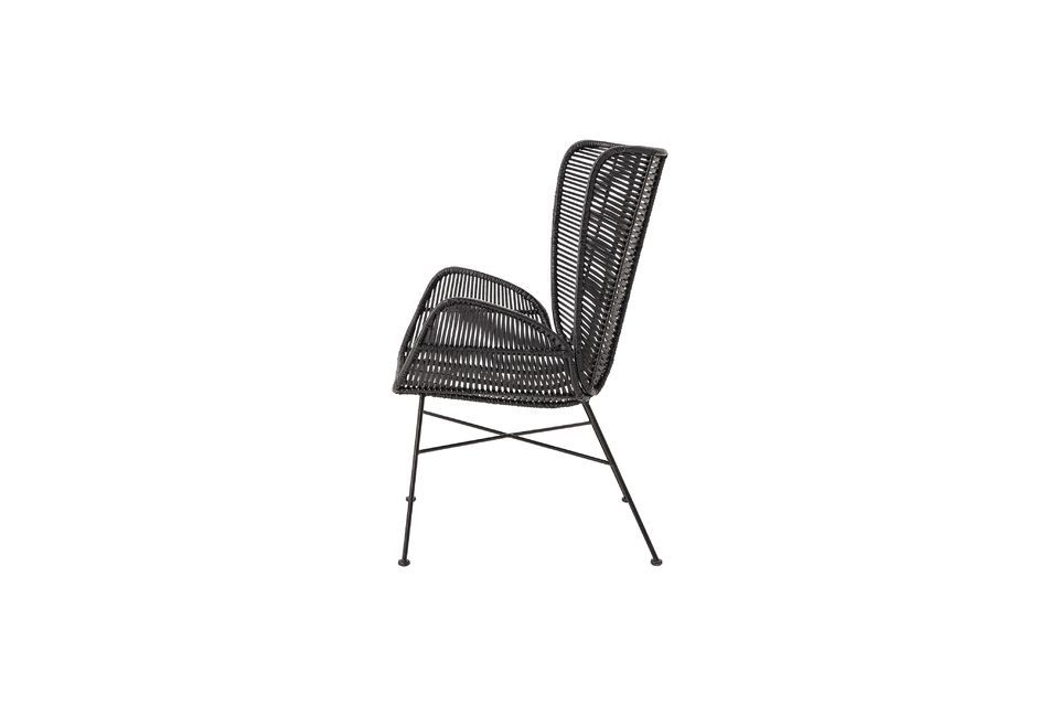 Bloomingville features a black rattan armchair solidly mounted on an iron base