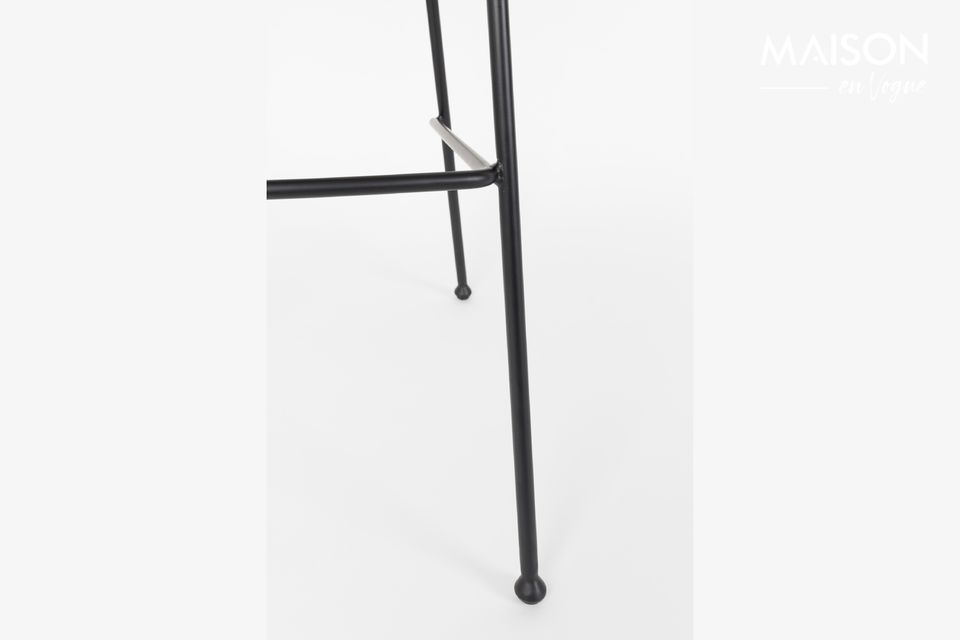 Zuiver\'s Black Festoon Counter Stool features meticulous detailing with baseball-inspired
