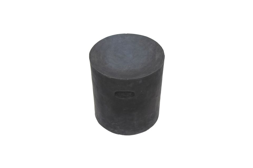 A rounded stool with recessed handles, easy to move around