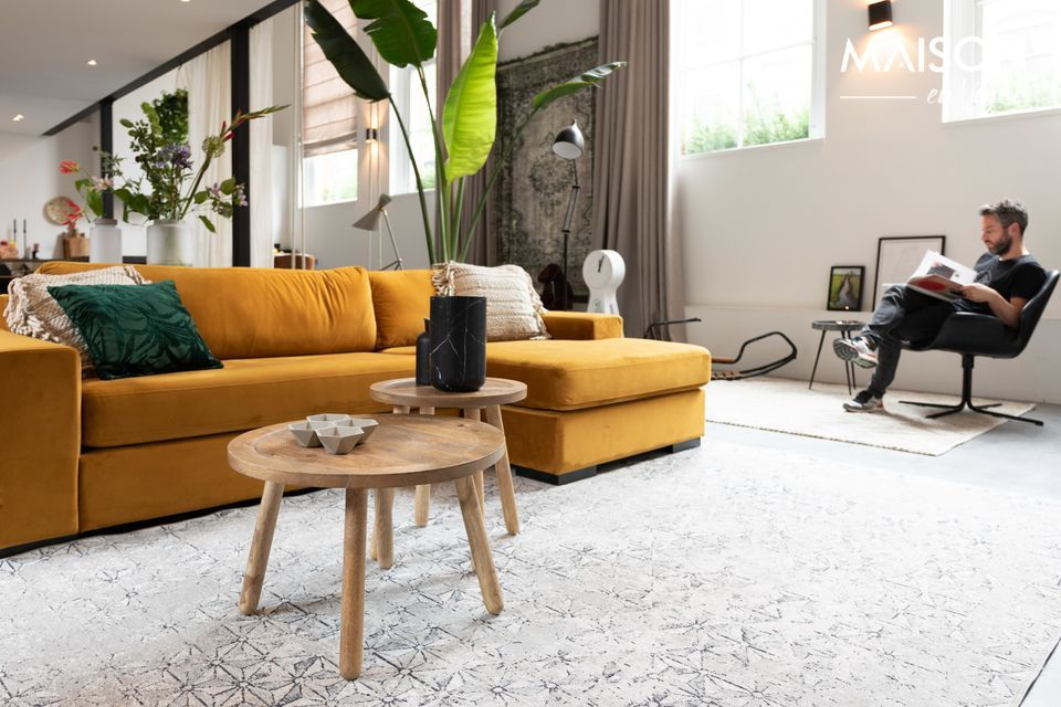 Fiep left Sofa in ochre velvet