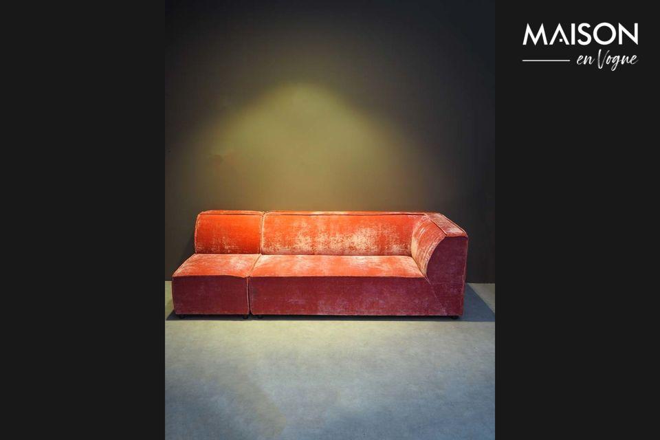 Vintage-look sofa with left armrest