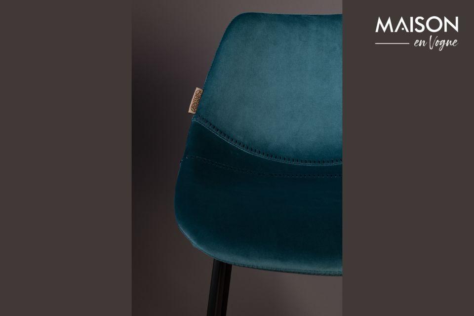 Franky bar stool in petrol blue - 7