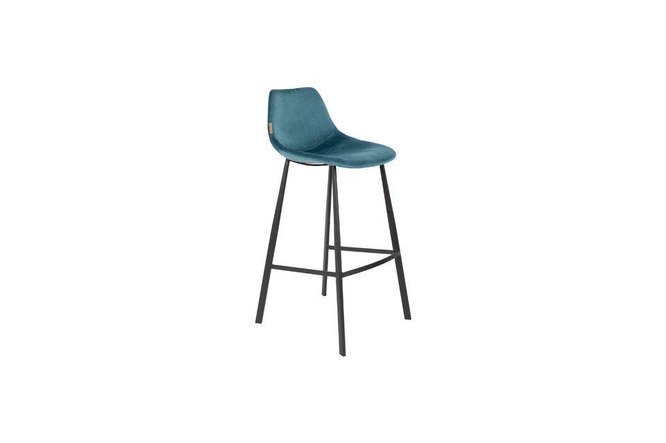 Franky bar stool in petrol blue Dutch Bone
