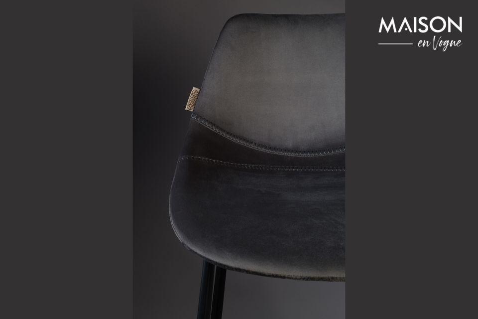 Franky grey velvet bar stool - 6