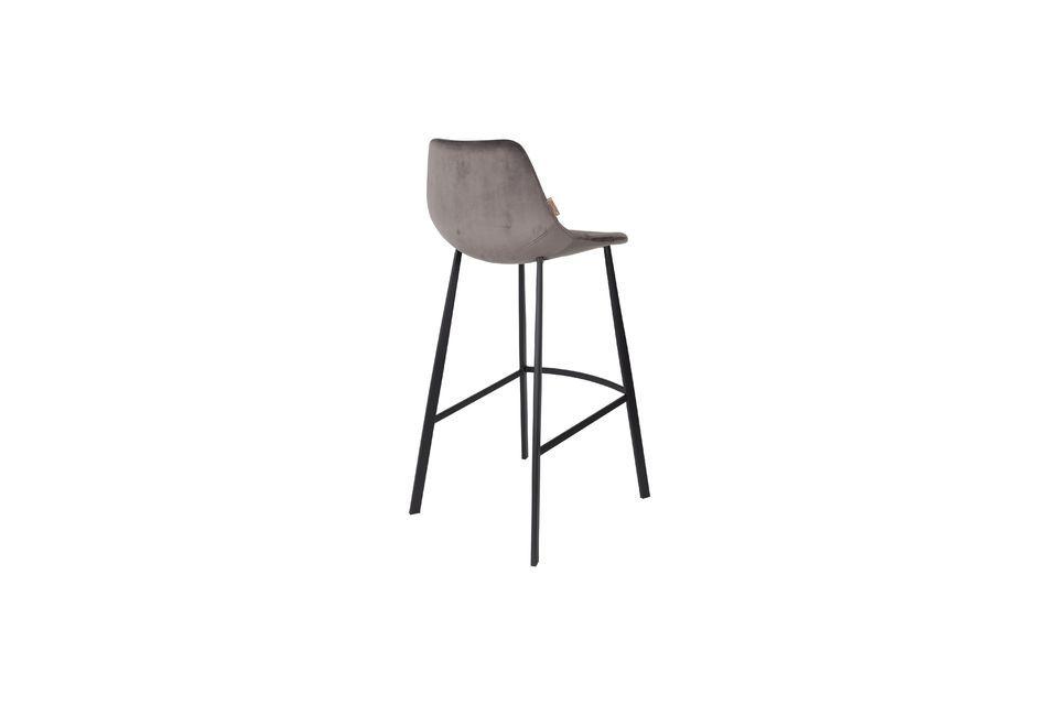 Franky grey velvet bar stool - 8
