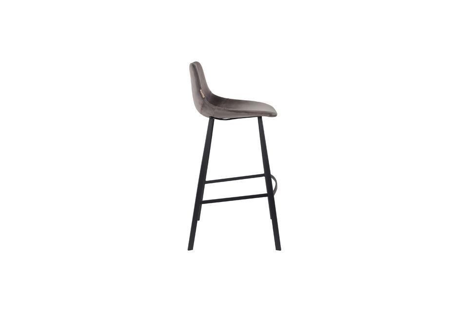 Franky grey velvet bar stool - 9