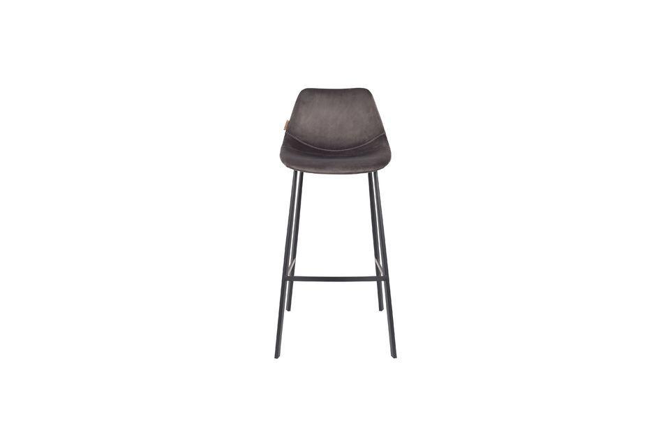 Franky grey velvet bar stool - 10