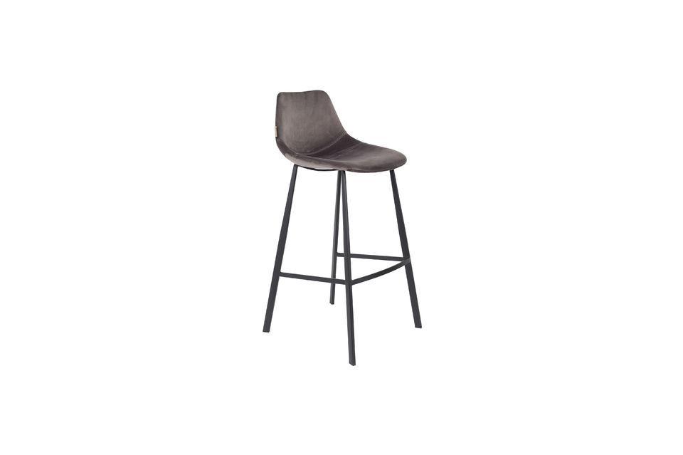 Franky grey velvet bar stool - 7