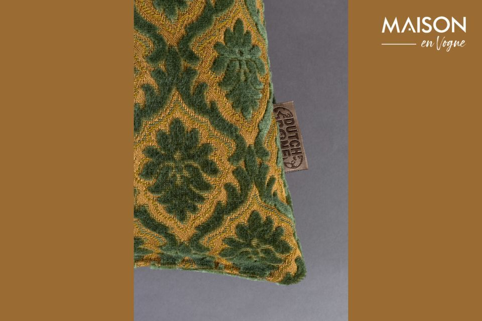 This comfortable and decorative accessory features a repeated plant pattern on a plain background