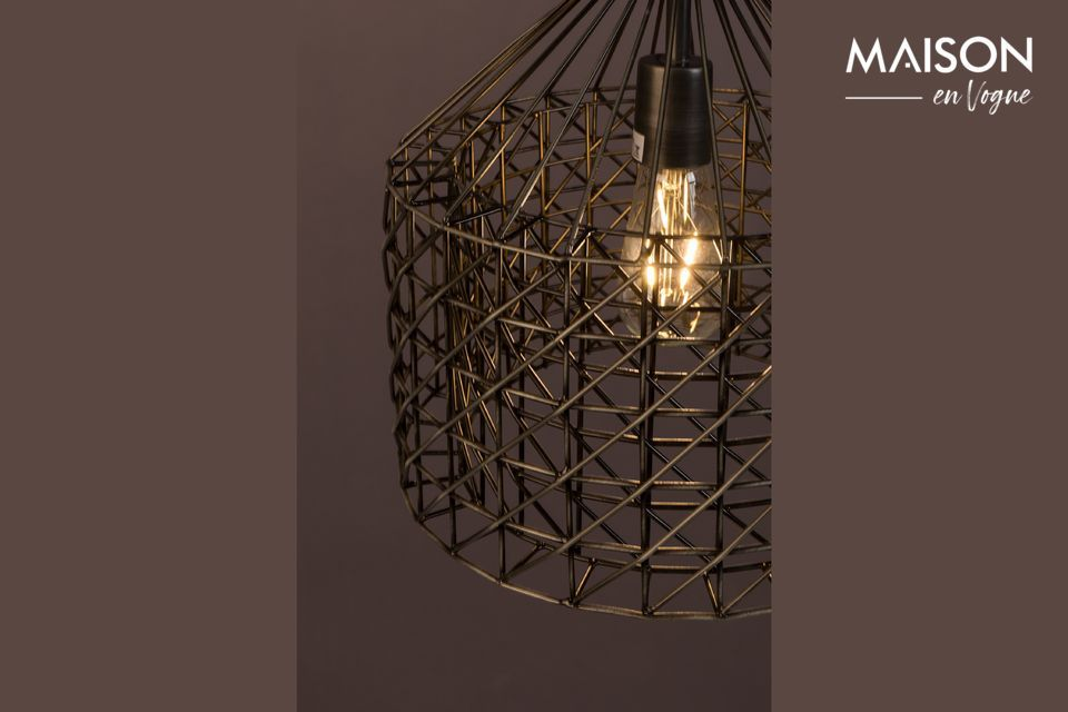 This lamp combines a vintage style by its hue and a design of great originality