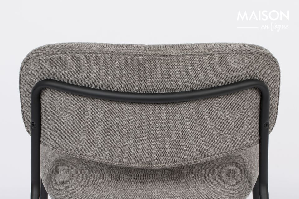 The back and seat are made of plywood covered with grey polyurethane foam