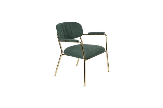 Jolien Lounge chair with gold and dark green armrests Clipped