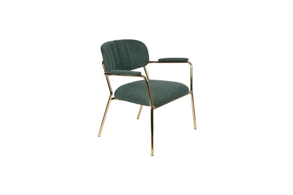 Jolien Lounge chair with gold and dark green armrests