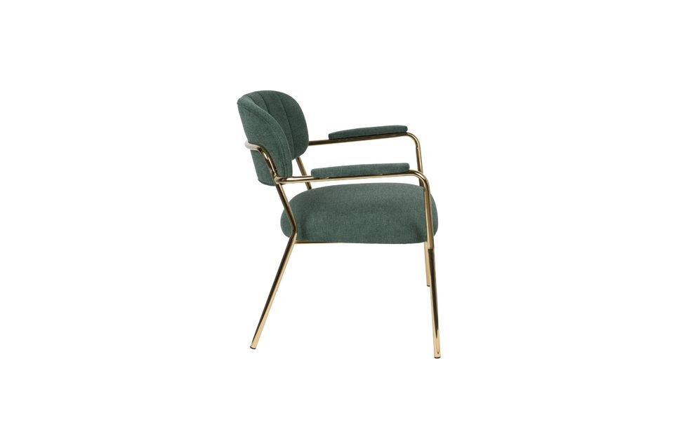 Jolien Lounge chair with gold and dark green armrests - 6