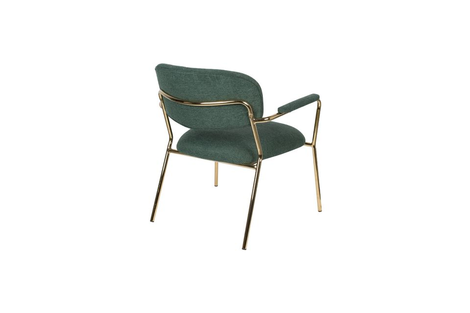 Jolien Lounge chair with gold and dark green armrests - 7