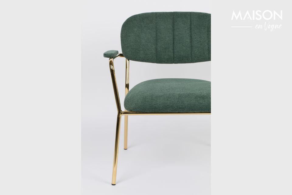 Lounge chair Jolien gold and dark green color
