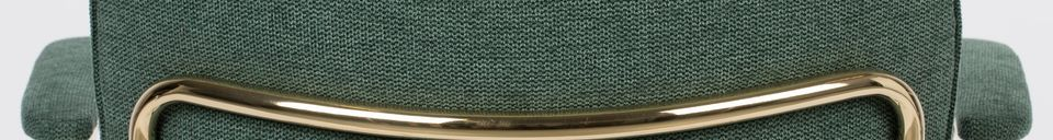 Material Details Jolien Lounge chair with gold and dark green armrests