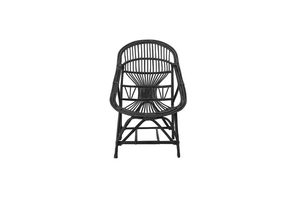 Joline black rattan lounge chair - 4