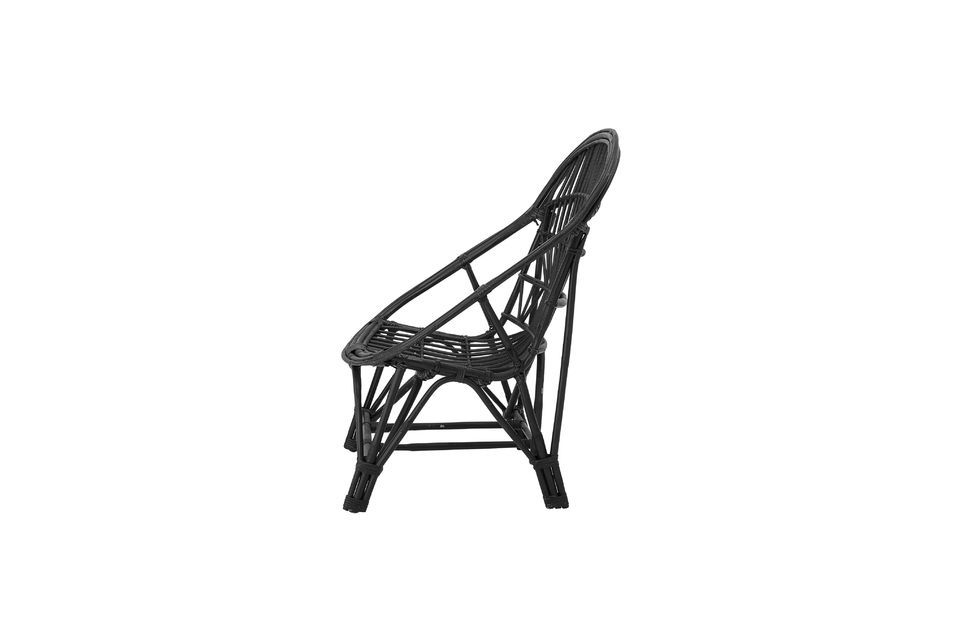 With a designer backrest and a woven rattan seat