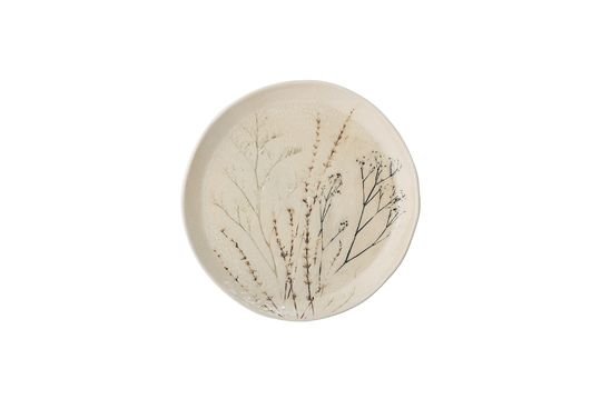 Large Bea natural plate in stoneware Clipped