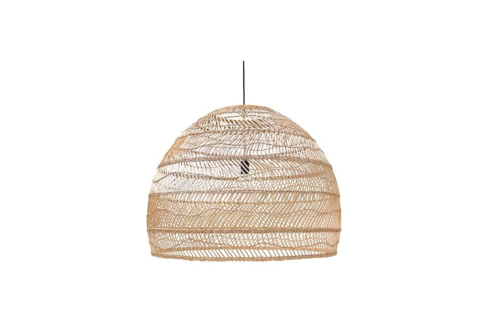 This luminaire is made of natural wicker weave in a light colour